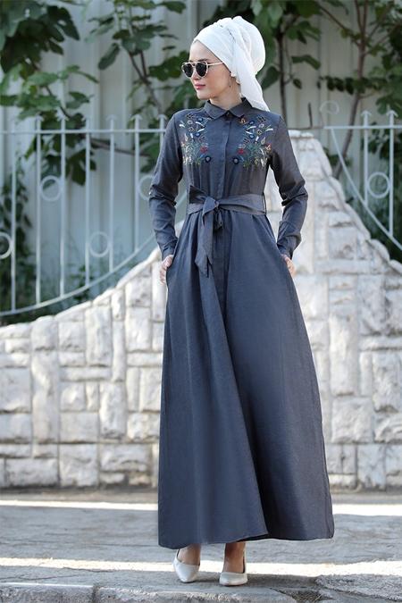 Selma Sarı Design Antrasit Nakış İşlemeli Ebru Elbise