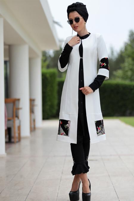 Selma Sarı Design Beyaz Nakışlı Ceket