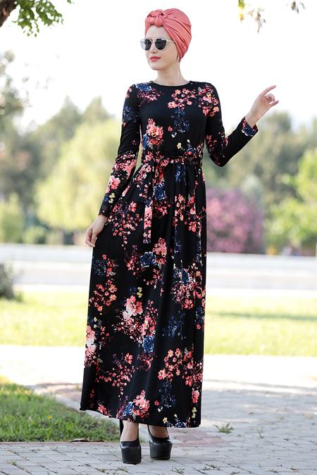 Selma Sarı Design Bordo Nakış İşlemeli Ebru Elbise