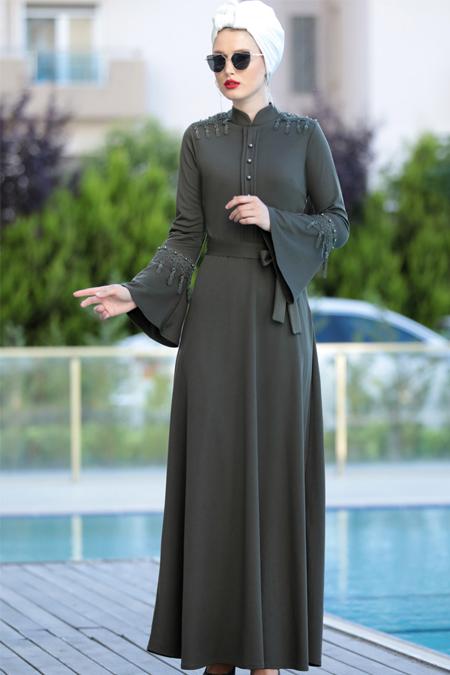 Selma Sarı Design Haki Güpürlü Buğlem Elbise