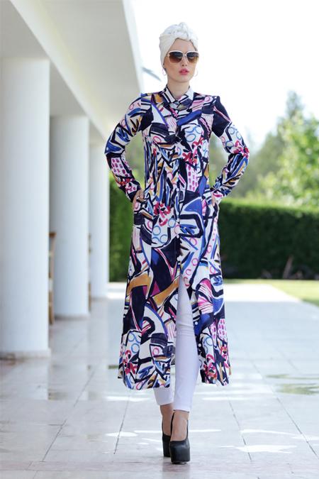 Selma Sarı Design Lacivert Art Cepli Uzun Tunik