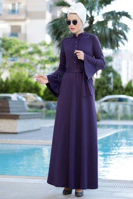 Selma Sarı Design Mor Güpürlü Buğlem Elbise