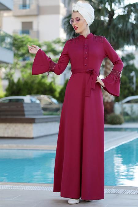 Selma Sarı Design Mürdüm Güpürlü Buğlem Elbise