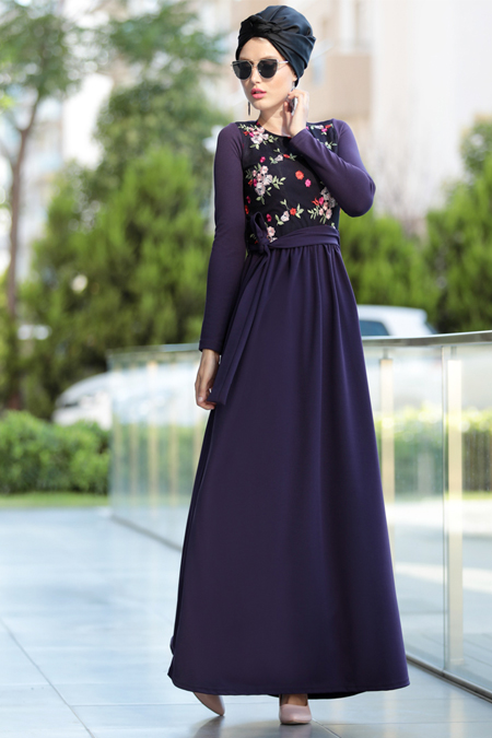 Selma Sarı Design Mürdüm Nakış İşlemli Elbise