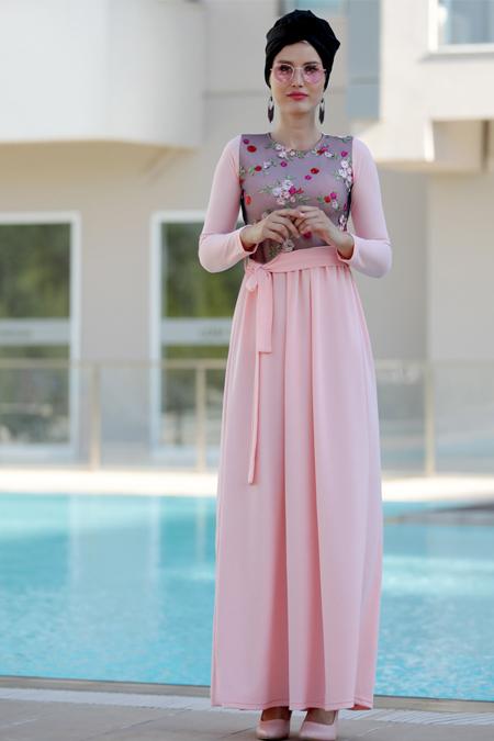 Selma Sarı Design Pudra Nakış İşlemli Elbise