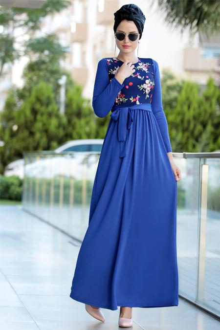 Selma Sarı Design Saks Nakış İşlemli Elbise