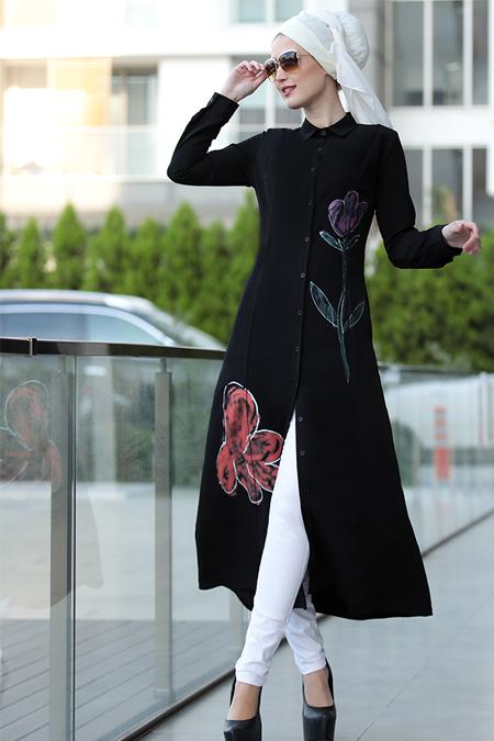 Selma Sarı Design Siyah Çiçek Desenli Tunik