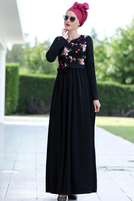 Selma Sarı Design Siyah Nakış İşlemli Elbise