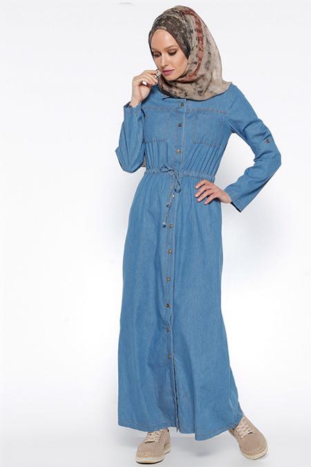 Timin Mavi Kot Elbise