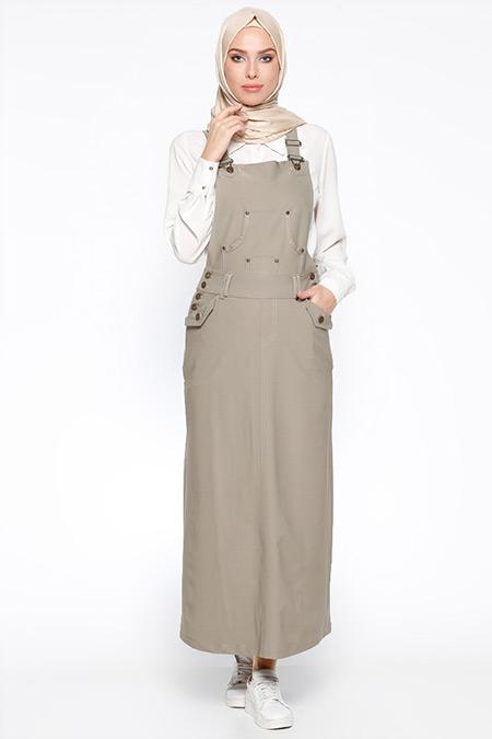 Veteks Line Açık Haki Salopet Elbise