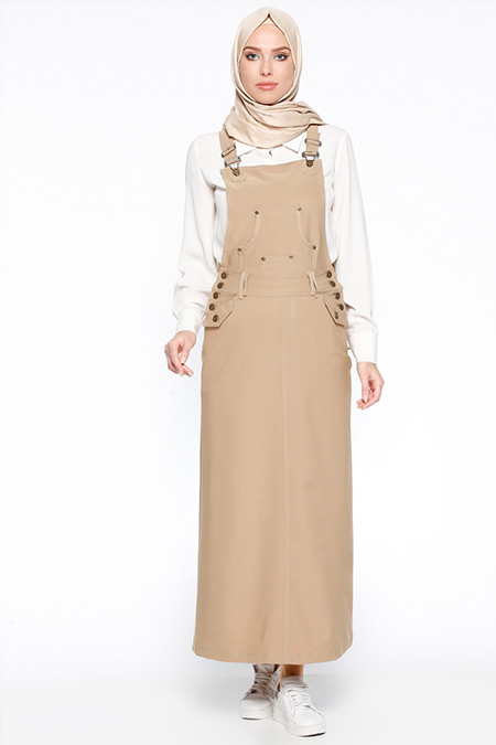 Veteks Line Camel Salopet Elbise