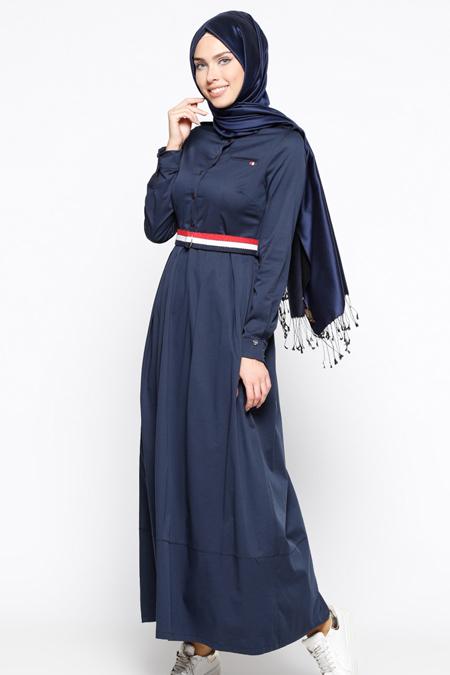 Armine Lacivert Kemerli Elbise
