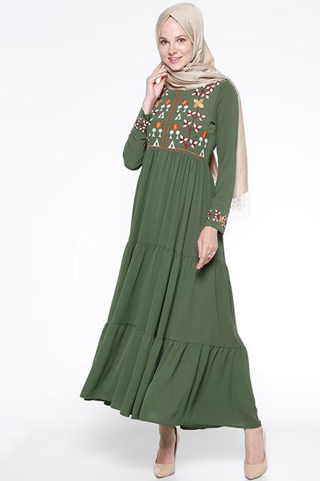 Beha Tesettür Haki Nakışlı Elbise