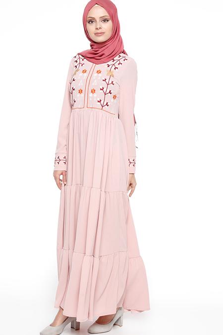 Beha Tesettür Pudra Nakışlı Elbise