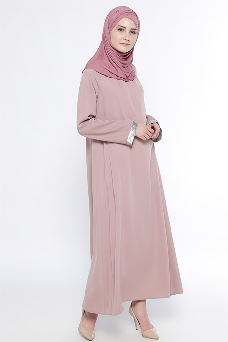 Belle Belemir Pudra Gizli Düğme Detaylı Elbise