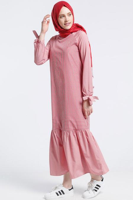 Benin Kırmızı Pötikareli Elbise