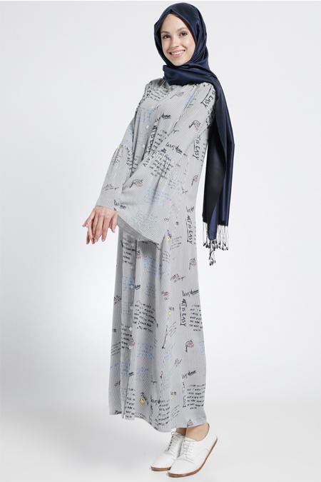 Benin Lacivert Doğal Kumaşlı Boydan Düğmeli Elbise