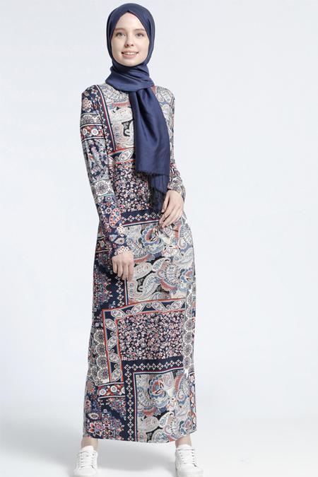 Benin Lacivert Şal Desenli Elbise