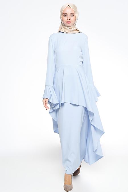 Bislife Bebe Mavisi Volan Detaylı Elbise