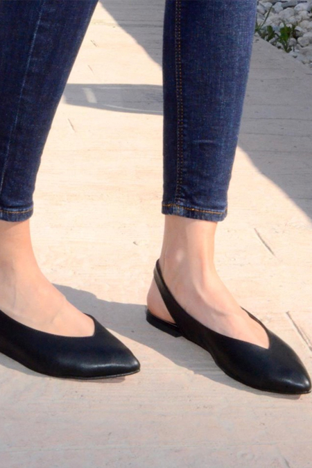 Comert Ayakkabı Siyah Deri Babet
