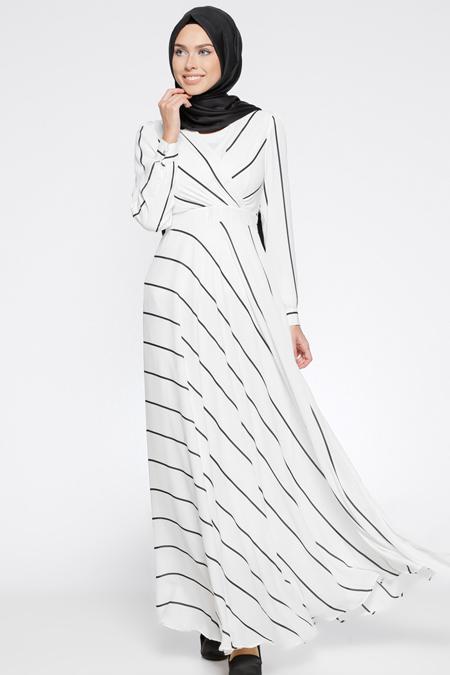 Eva Fashion Beyaz Desenli Elbise
