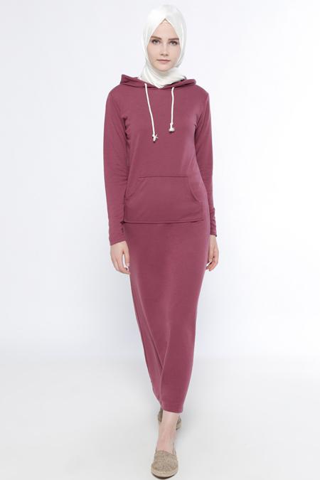Everyday Basic Açık Mürdüm Doğal Kumaşlı Kapüşonlu Elbise