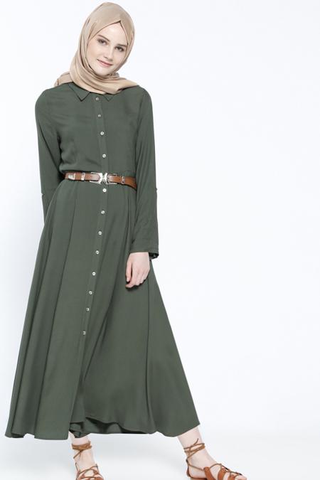 Everyday Basic Haki Doğal Kumaşlı Kemerli Elbise