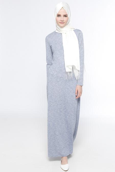 Everyday Basic Mavi Kırçıllı Elbise