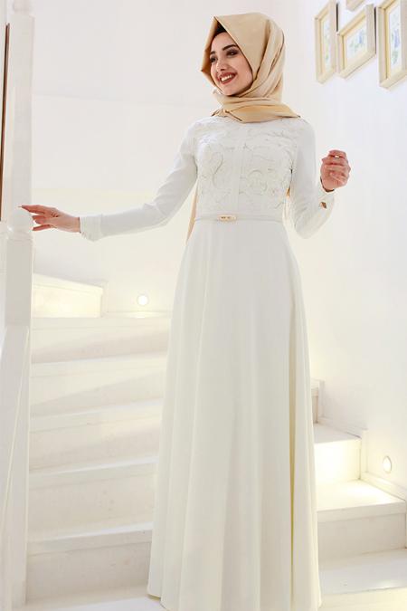 Gamze Özkul Ekru Deri Detaylı Elbise