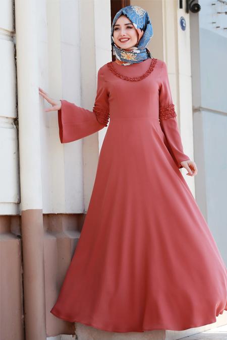 Gamze Özkul Kiremit Fırfır Detaylı Elbise