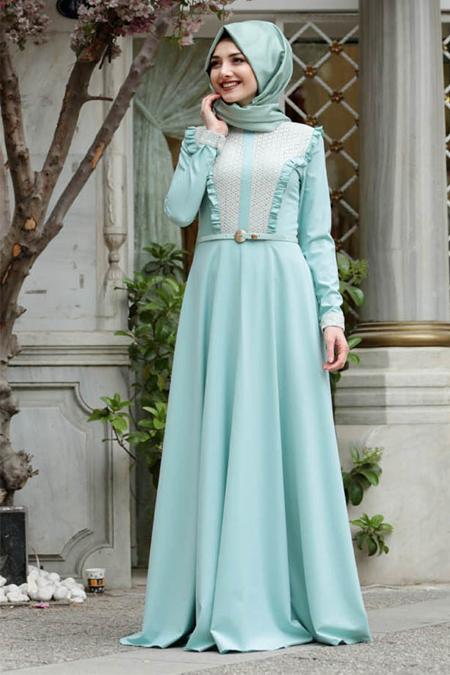 Gamze Özkul Mint Yeşili Vera Elbise