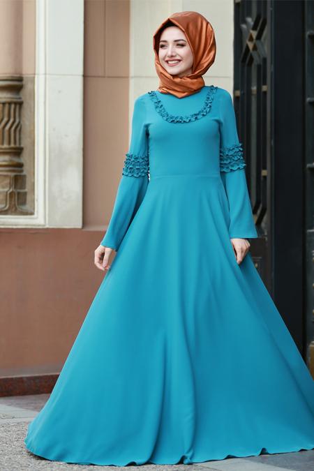 Gamze Özkul Petrol Fırfır Detaylı Elbise
