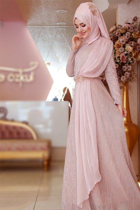 Gamze Özkul Pudra Kemer Detaylı Elbise