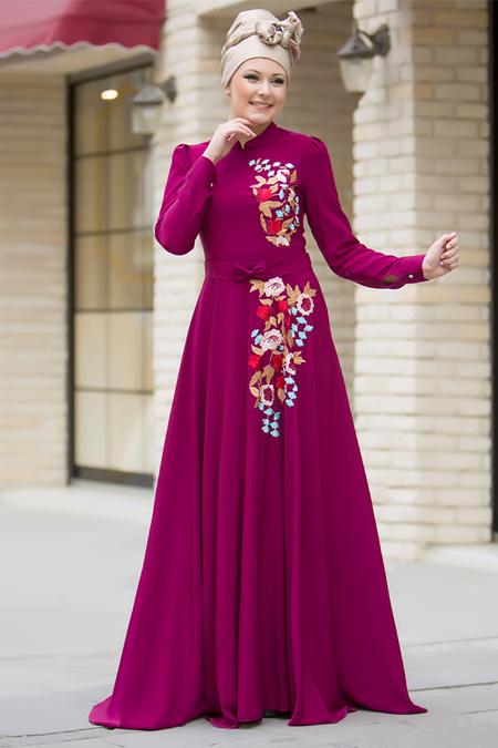 Gizem Kış Fuşya Nakışlı Elbise