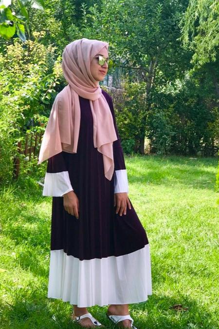 HAINA ELEGANTE Sandy Kumaş Koyu Mor Renk Elbise