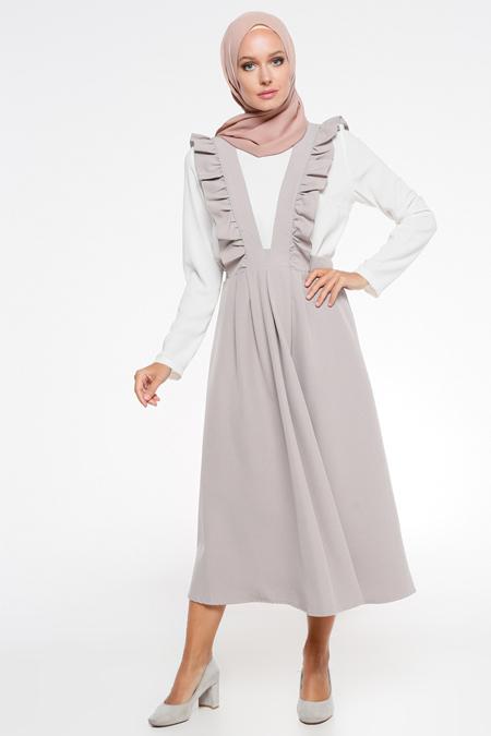 İroni Gri Salopet Elbise