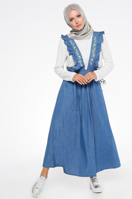 İroni Mavi Salopet Elbise