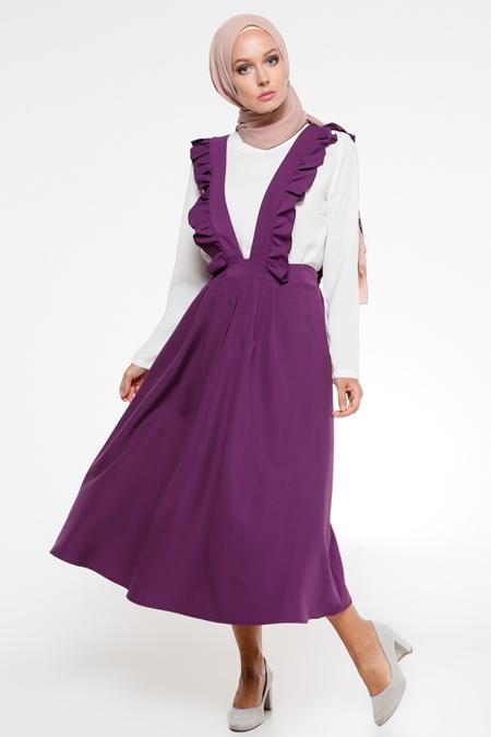 İroni Mor Salopet Elbise