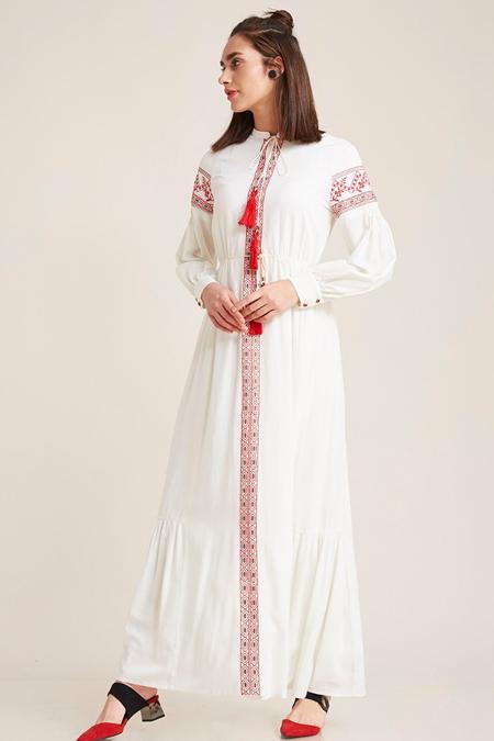Kayra Beyaz Etnik Desen Elbise
