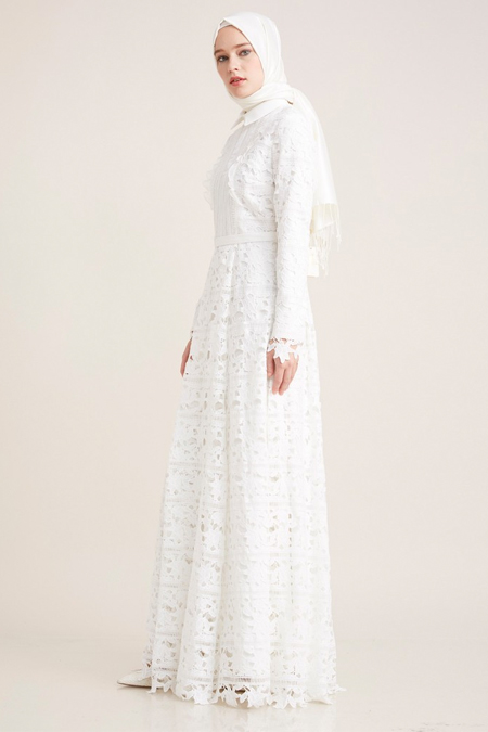 Kayra Ekru Güpürlü Abiye Elbise