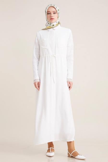 Kayra Ekru Kolları Güpürlü Elbise