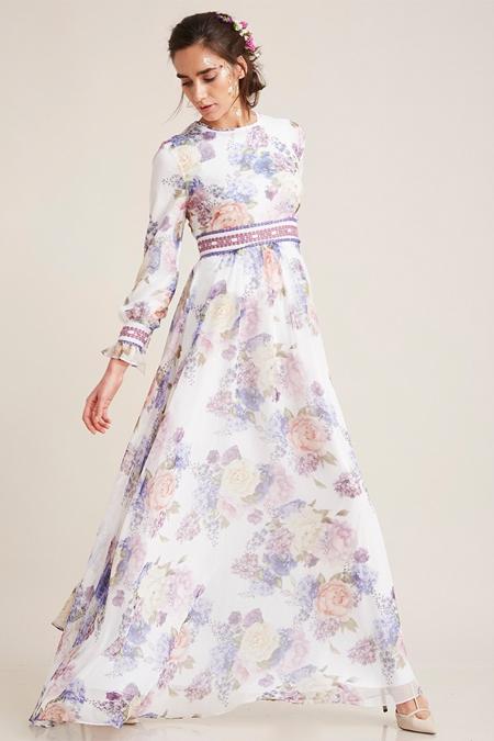 Kayra Lila Çiçek Desenli Bahar Elbise