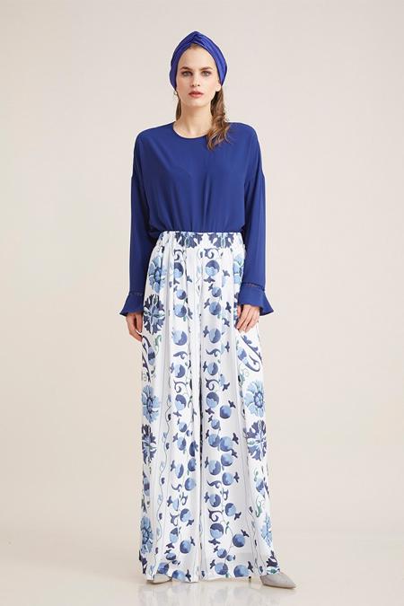 Kayra Mavi Çiçekli Pileli Pantolon