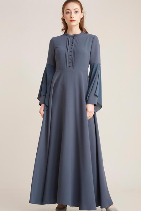 Kayra Petrol Asimetrik Kol Detaylı Elbise