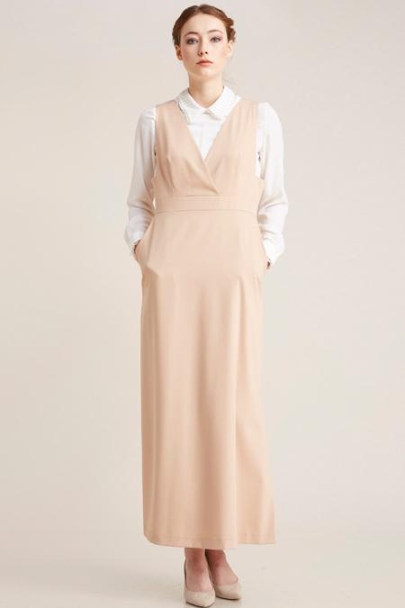 Kayra Pudra Gömlek Kombinli Elbise