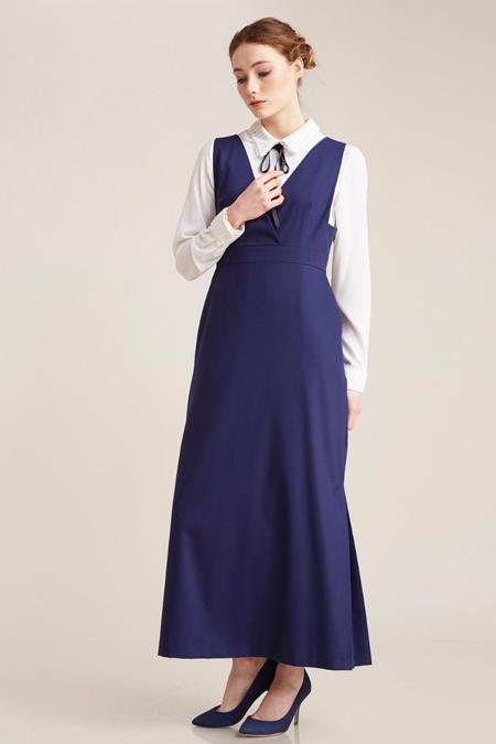 Kayra Saks Gömlek Kombinli Elbise