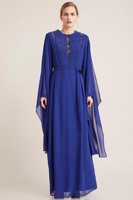 Kayra Saks Şifon Parçalı Elbise