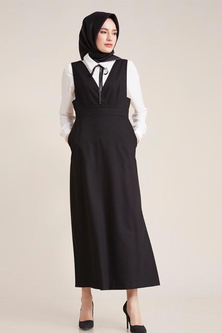 Kayra Siyah Gömlek Kombinli Elbise