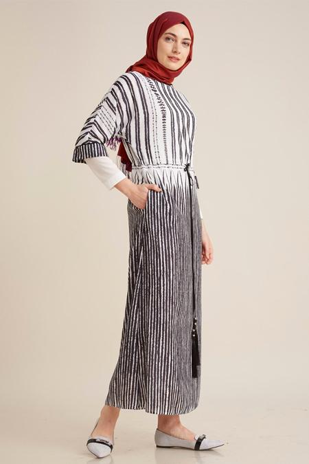 Kayra Siyah Zebra Desenli Elbise