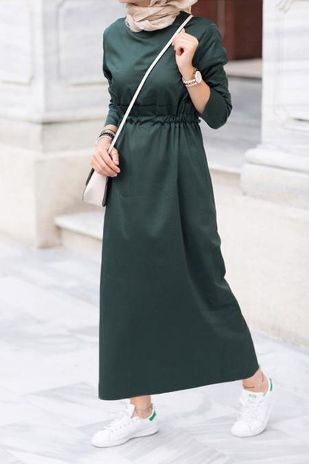 Kevsersarioglu Beli Büzgülü Cepli Yazlık Koyu Yeşil Elbise